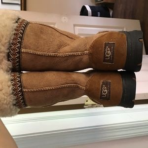 UGG Sheepskin Lined Leather Tie Embroidered Boots